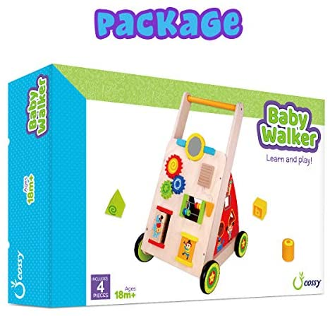 51yaiU ZvOL. AC  - cossy Wooden Baby Learning Walker Toddler Toys for 18 Months (Updated Version)