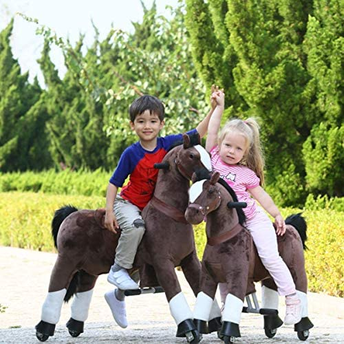 51ywtMUdlNL. AC  - Gidygo Kids Riding on Toy Walking Rocking Horse Plush Animal Brown Pony for Children for 3-6 Years Old