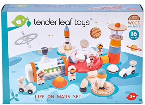 51zdwK9dtDL. AC  - Life on Mars Playset - S.T.E.M. Toy - 16 Pc Wooden Outer Space Themed Playset - Made with Premium Materials and Craftsmanship - Create Interest in Science and Creative Role Play - For Children 3+