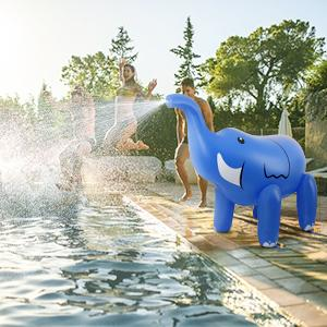 52e517f2 229c 41d4 bfa8 8f00a0820dc1.  CR0,0,300,300 PT0 SX300 V1    - DG-Direct Water Sprinkler for Kids, 6 Feet Giant Elephant Inflatable Sprinkler, Summer Toys Swimming Party Pool Play Sprayer for Toddler Boys Girls Outdoor Yard Lawn Beach-Blue