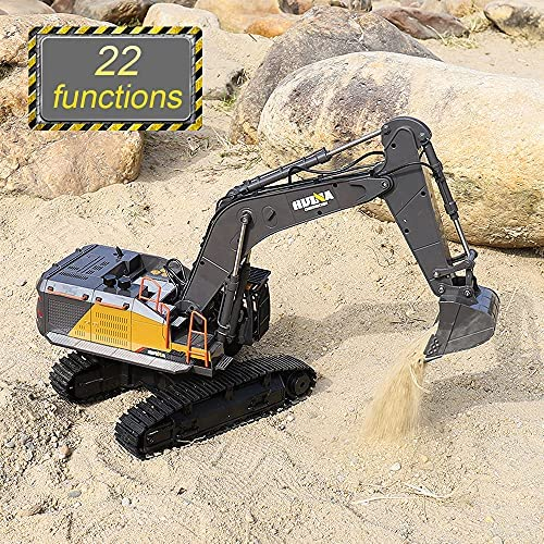 61Go1j2UzoS. AC  - Fistone RC Excavator with Alloy Bucket, 1/14 Scale 22 Channel Remote Control Construction Vehicles Truck Die-cast Engineering Excavator Toys for Kids and Adults