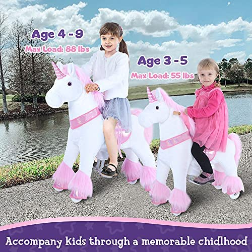 """61QTbzy0WTL. AC  - PonyCycle Authentic Unicorn Ride on Toys for Girls (with Brake/ 31.1"""" Height/ Small for Age 3-5) Pink Unicorn Kids Ride on Toys Plush Walking Unicorn Ux302"""