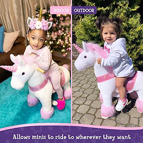 """61S2r8EInQL. AC  - PonyCycle Authentic Unicorn Ride on Toys for Girls (with Brake/ 31.1"""" Height/ Small for Age 3-5) Pink Unicorn Kids Ride on Toys Plush Walking Unicorn Ux302"""