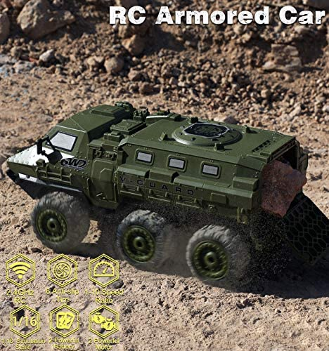 61cjDQEKtgL. AC  - RC Cars, 1/16 Scale RC Military Truck, 6WD 2.4GHz 98 Foot RC Distance, Remote Control Army Armored Car with 2 Batteries for 120 Min Play, All-Terrain Off-Road Army Truck for Adults Kids Boys