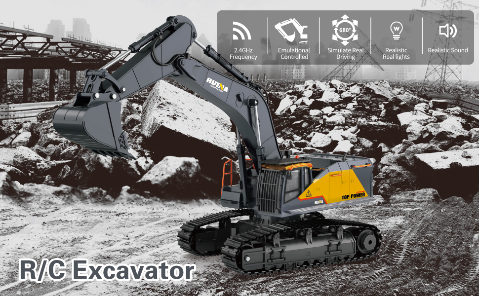 71199128 535a 46f5 9009 ffb80af1c7e0.  CR0,0,970,600 PT0 SX970 V1    - Fistone RC Excavator with Alloy Bucket, 1/14 Scale 22 Channel Remote Control Construction Vehicles Truck Die-cast Engineering Excavator Toys for Kids and Adults