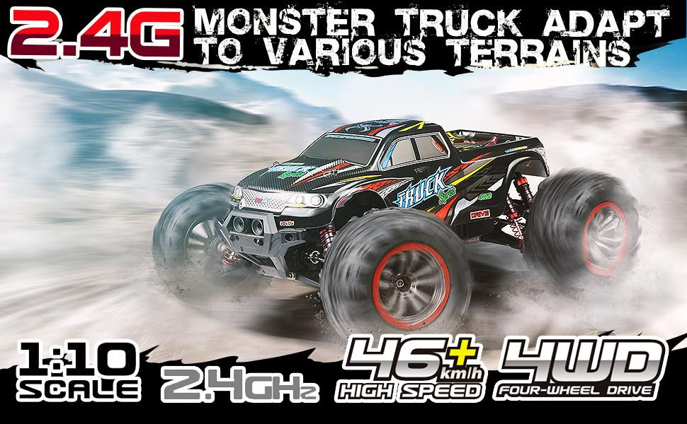 8d1cd473 153c 428f a283 31eb8d4f2ba6.  CR0,0,970,600 PT0 SX970 V1    - Hosim Large Size 1:10 Scale High Speed 46km/h 4WD 2.4Ghz Remote Control Truck 9125,Radio Controlled Off-road RC Car Electronic Monster Truck R/C RTR Hobby Grade Cross-country Car (Black)