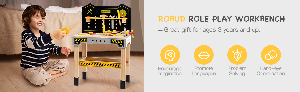 961056e9 3c99 4ae0 91bf fac145d24971.  CR0,0,970,300 PT0 SX970 V1    - ROBUD Wooden Workbench for Kids Tool Bench Table Construction Tools Preschool Toy Workshop Pretend Play Work Bench for Toddlers