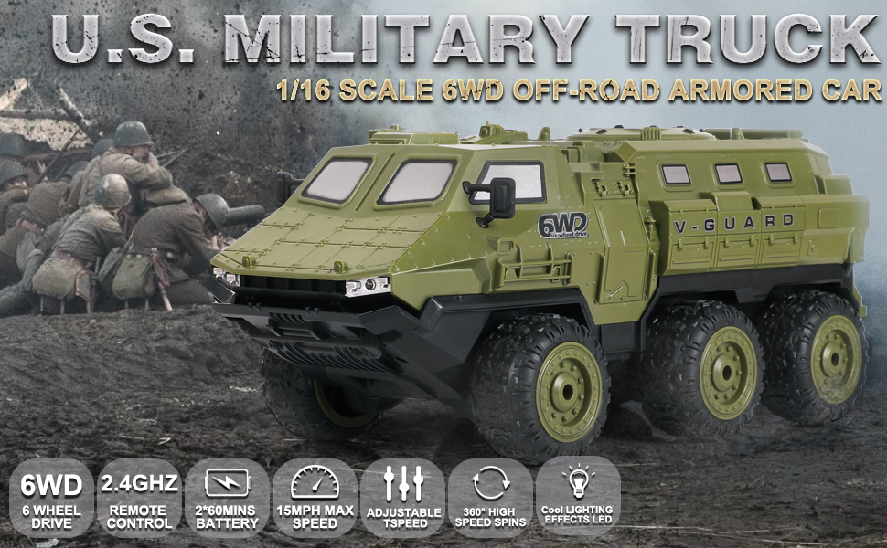 c75c087a d366 4205 a317 737932cb7c75.  CR0,0,970,600 PT0 SX970 V1    - RC Cars, 1/16 Scale RC Military Truck, 6WD 2.4GHz 98 Foot RC Distance, Remote Control Army Armored Car with 2 Batteries for 120 Min Play, All-Terrain Off-Road Army Truck for Adults Kids Boys