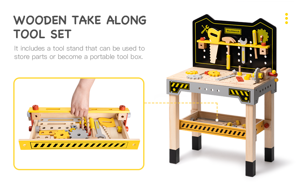 c84fafdb 4350 46a8 88fb 000c2e4c28ad.  CR0,0,970,600 PT0 SX970 V1    - ROBUD Wooden Workbench for Kids Tool Bench Table Construction Tools Preschool Toy Workshop Pretend Play Work Bench for Toddlers