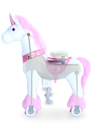 """ed592ed2 52a2 4cbf ba20 571c7aaa69b1.  CR0,0,300,400 PT0 SX300 V1    - PonyCycle Authentic Unicorn Ride on Toys for Girls (with Brake/ 31.1"""" Height/ Small for Age 3-5) Pink Unicorn Kids Ride on Toys Plush Walking Unicorn Ux302"""