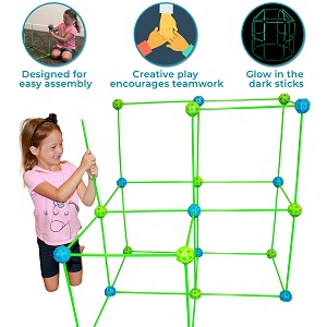 f27da365 3a79 43ab ab05 6ad4d6b02508.  CR0,0,300,300 PT0 SX300 V1    - Funphix 77 Pc Fort Building Kit with Glow in The Dark Sticks + Green Sheet - Fun Construction Toy for Age 5+ Creative Play - Encourages Imagination & Teamwork (Blue and Green Balls)