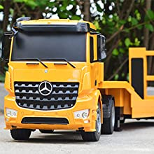 vALYbX3QZir. UX220 TTW   - DOUBLE E Mercedes-Benz Licensed RC Tow Truck Detachable Flatbed Semi Trailer Engineering Tractor Remote Control Trailer Truck Electronics Hobby Toy with Sound and Lights