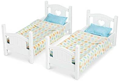 """31mo1XZWZ4L. AC  - Melissa & Doug Mine to Love Wooden Play Bunk Bed for Dolls-Stuffed Animals - White (2 Beds, 17.4""""H x 9.1""""W x 20.7""""L Assembled and Stacked)"""