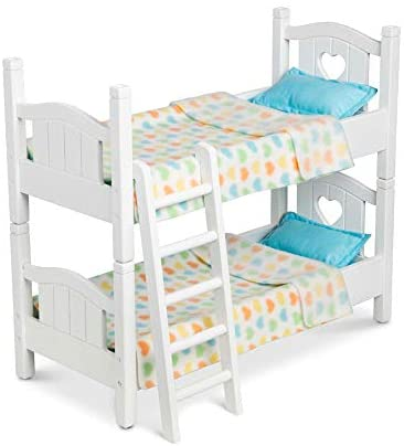 """41HaB5Cj8zL. AC  - Melissa & Doug Mine to Love Wooden Play Bunk Bed for Dolls-Stuffed Animals - White (2 Beds, 17.4""""H x 9.1""""W x 20.7""""L Assembled and Stacked)"""
