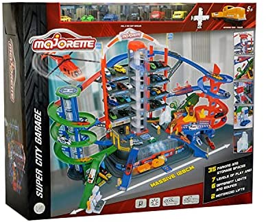 51+a6piyfOS. AC  - DICKIE TOYS - Majorette Super City Garage Playset with 6 Die-Cast Cars, Multi