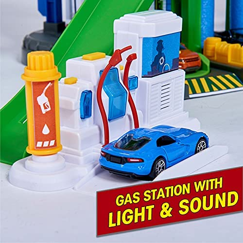 518LzGtgAJS. AC  - DICKIE TOYS - Majorette Super City Garage Playset with 6 Die-Cast Cars, Multi