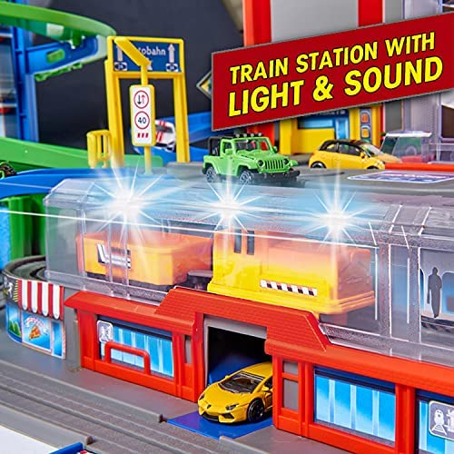 51AoAZxHWMS. AC  - DICKIE TOYS - Majorette Super City Garage Playset with 6 Die-Cast Cars, Multi