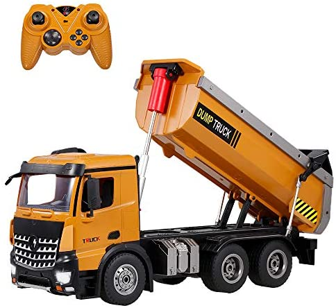 51GlNDbs2tL. AC  - GoolRC WLtoys 14600 RC Dump Truck, 1/14 Scale 2.4Ghz Remote Control Dump Truck, RC Construction Vehicle Toy with LED Lights and Simulation Sound for Kids and Adults