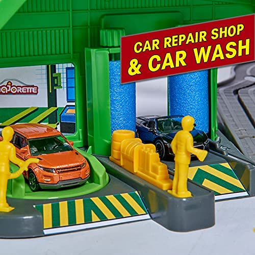 51QCffNqNnS. AC  - DICKIE TOYS - Majorette Super City Garage Playset with 6 Die-Cast Cars, Multi