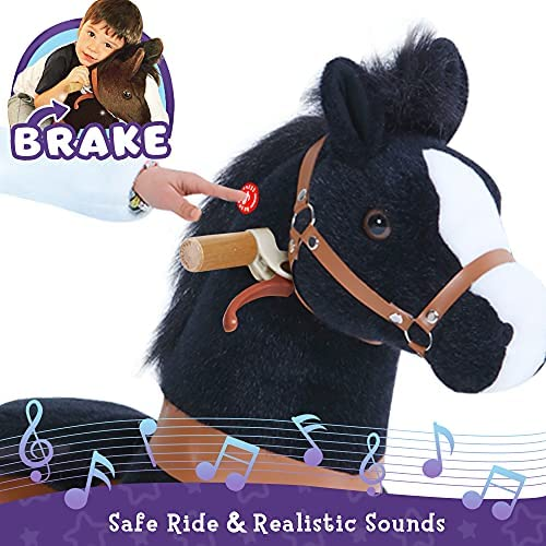 """51SUr8a U2L. AC  - PonyCycle Authentic Ride on Pony Toy Spring Horse (with Brake/ 38.1"""" Height/ U4 for Age 4-9) Horse Rider Toys Bouncy Animals Toddlers Riding Toy Black Ux426"""