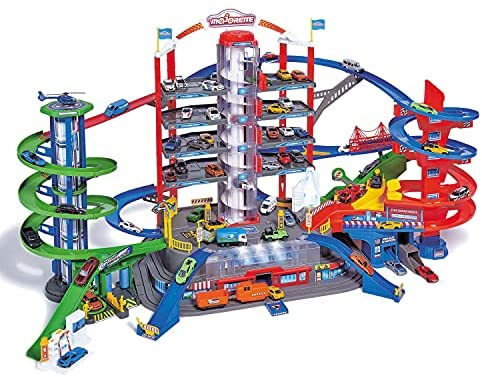 51UkKqbQuXS. AC  - DICKIE TOYS - Majorette Super City Garage Playset with 6 Die-Cast Cars, Multi