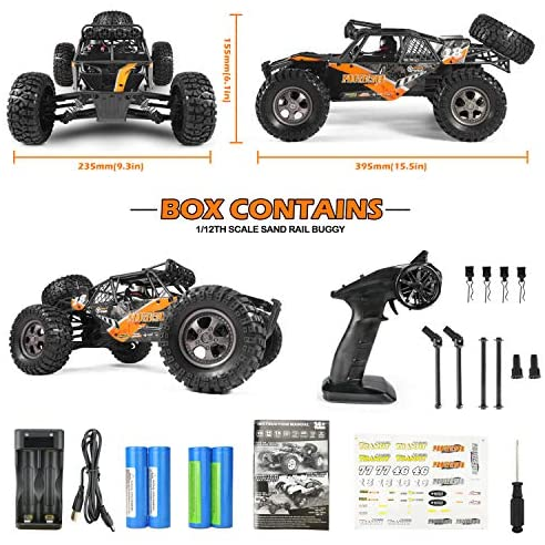 51VY03QfNjL. AC  - Remote Control Car,1:12 Scale 4x4 RC Cars Protector 38+ kmh High Speed, 2.4 GHz All Terrain Off-Road RC Truck Included 2 Rechargeable Batteries, Ideal Xmas Gifts Remote Control Toy for Boys and Adults