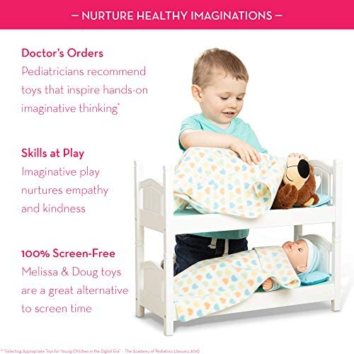 """51cV2HRvJDL. AC  - Melissa & Doug Mine to Love Wooden Play Bunk Bed for Dolls-Stuffed Animals - White (2 Beds, 17.4""""H x 9.1""""W x 20.7""""L Assembled and Stacked)"""