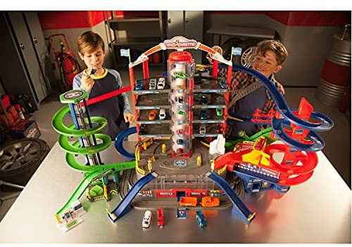 51fdaNO+aSS. AC  - DICKIE TOYS - Majorette Super City Garage Playset with 6 Die-Cast Cars, Multi