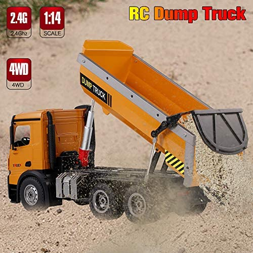 51mXf5nsh2L. AC  - GoolRC WLtoys 14600 RC Dump Truck, 1/14 Scale 2.4Ghz Remote Control Dump Truck, RC Construction Vehicle Toy with LED Lights and Simulation Sound for Kids and Adults