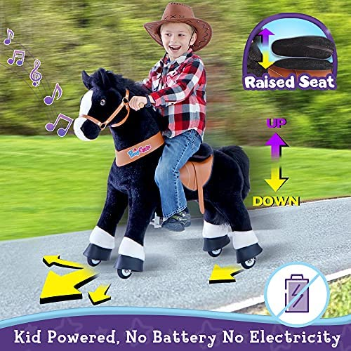 """51w317tbURL. AC  - PonyCycle Authentic Ride on Pony Toy Spring Horse (with Brake/ 38.1"""" Height/ U4 for Age 4-9) Horse Rider Toys Bouncy Animals Toddlers Riding Toy Black Ux426"""