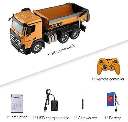 51whjxJG7LL. AC  - GoolRC WLtoys 14600 RC Dump Truck, 1/14 Scale 2.4Ghz Remote Control Dump Truck, RC Construction Vehicle Toy with LED Lights and Simulation Sound for Kids and Adults