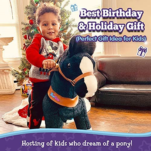 """613j 5bqxVL. AC  - PonyCycle Authentic Ride on Pony Toy Spring Horse (with Brake/ 38.1"""" Height/ U4 for Age 4-9) Horse Rider Toys Bouncy Animals Toddlers Riding Toy Black Ux426"""