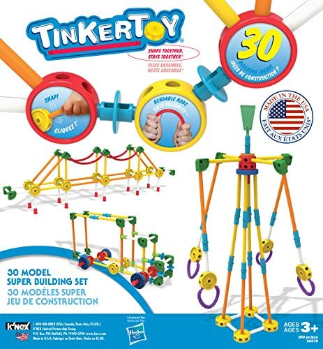 61Ufcqaoe4L. AC  - TINKERTOY 30 Model 200 Piece Super Building Set - Preschool Learning Educational Toy for Girls and Boys 3+ (Amazon Exclusive)