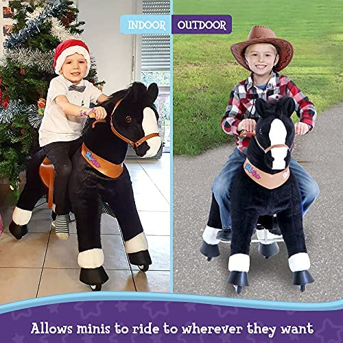 """61aFguZn6DL. AC  - PonyCycle Authentic Ride on Pony Toy Spring Horse (with Brake/ 38.1"""" Height/ U4 for Age 4-9) Horse Rider Toys Bouncy Animals Toddlers Riding Toy Black Ux426"""