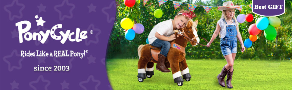 """b477376a c230 4f98 b3dd 3bc76d9f9f31.  CR0,0,970,300 PT0 SX970 V1    - PonyCycle Authentic Ride on Pony Toy Spring Horse (with Brake/ 38.1"""" Height/ U4 for Age 4-9) Horse Rider Toys Bouncy Animals Toddlers Riding Toy Black Ux426"""